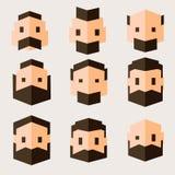 Σύνολο χαρακτήρων στο επίπεδο σχέδιο Κεφάλια ατόμων ` s στο γεωμετρικό επίπεδο ύφος ελεύθερη απεικόνιση δικαιώματος