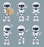 Σύνολο χαριτωμένης άσπρης διανυσματικής απεικόνισης μηχανών AI απεικόνιση αποθεμάτων