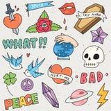 Σύνολο χαριτωμένης αυτοκόλλητης ετικέττας, γκράφιτι doodle, μπαλώματα μόδας διανυσματική απεικόνιση