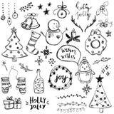 Σύνολο χαριτωμένου και απλού συρμένου χέρι στοιχείου Χριστουγέννων διανυσματική απεικόνιση