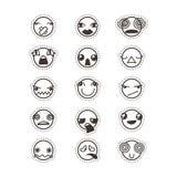 Σύνολο χαριτωμένου καλού kawaii emoticon Συλλογή αυτοκόλλητων ετικεττών Στοκ εικόνα με δικαίωμα ελεύθερης χρήσης