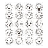 Σύνολο χαριτωμένου καλού kawaii emoticon Συλλογή αυτοκόλλητων ετικεττών Στοκ Εικόνες