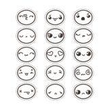 Σύνολο χαριτωμένου καλού kawaii emoticon Συλλογή αυτοκόλλητων ετικεττών Στοκ φωτογραφία με δικαίωμα ελεύθερης χρήσης