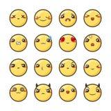 Σύνολο χαριτωμένου καλού kawaii emoticon Στοκ Εικόνα
