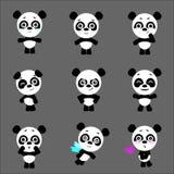 Σύνολο χαριτωμένου χαρακτήρα pandas με τις διαφορετικές συγκινήσεις Διανυσματικός χαρακτήρας panda κινούμενων σχεδίων Διανυσματικ απεικόνιση αποθεμάτων