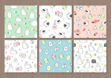 Σύνολο χαριτωμένων άνευ ραφής διανυσματικών σχεδίων με τα αυγά Πάσχας, τα λαγουδάκια, τα λουλούδια και τα πουλιά Στοκ Εικόνες