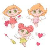 Σύνολο χαριτωμένων αγγέλων κινούμενων σχεδίων για την ημέρα βαλεντίνων s με τα εξαρτήματα διανυσματική απεικόνιση