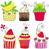 Σύνολο χαριτωμένων αναδρομικών cupcakes Στοκ φωτογραφία με δικαίωμα ελεύθερης χρήσης
