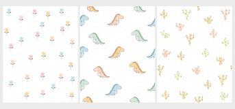 Σύνολο 3 χαριτωμένων διανυσματικών σχεδίων θέματος δεινοσαύρων Ντίνος, κάκτοι και λουλούδια Παιδικό σχέδιο απεικόνιση αποθεμάτων