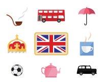 Σύνολο χαριτωμένων κινούμενων σχεδίων σχετικών με το Λονδίνο και την Αγγλία Στοκ Εικόνες