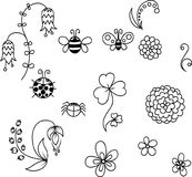 Σύνολο χαριτωμένων λουλουδιών και εντόμων Στοκ φωτογραφία με δικαίωμα ελεύθερης χρήσης