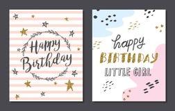 Σύνολο χαριτωμένων προτύπων καρτών γενεθλίων ελεύθερη απεικόνιση δικαιώματος