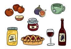 Σύνολο χαριτωμένων τροφίμων doodles Αυτοκόλλητες ετικέττες τροφίμων Hygge για τους αρμόδιους για το σχεδιασμό και botebooks Το κα ελεύθερη απεικόνιση δικαιώματος