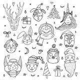 Σύνολο χαριτωμένων χαρακτήρων Χριστουγέννων κινούμενων σχεδίων επίσης corel σύρετε το διάνυσμα απεικόνισης Στοκ Φωτογραφία