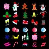 Σύνολο Χαρούμενα Χριστούγεννας 30 εικονίδια καλή χρονιά διανυσματική απεικόνιση