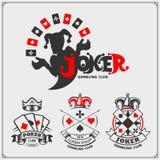 Σύνολο χαρτοπαικτικής λέσχης και εμβλημάτων και ετικετών πόκερ με τις κάρτες πλακατζών και παιχνιδιού Στοκ εικόνες με δικαίωμα ελεύθερης χρήσης