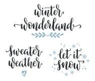 Σύνολο χειμερινής εμπνευσμένο καλλιγραφίας στοκ εικόνες με δικαίωμα ελεύθερης χρήσης