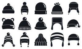 Σύνολο χειμερινών headwear βοηθητικό εικονιδίων, απλό ύφος απεικόνιση αποθεμάτων