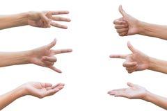 Σύνολο χειρονομίας χεριών και συλλογής σημαδιών που απομονώνονται στο άσπρο backgr Στοκ φωτογραφίες με δικαίωμα ελεύθερης χρήσης