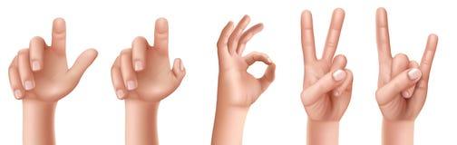 Σύνολο χειρονομιών χεριών με ένα αυξημένο δάχτυλο επάνω, ένα ΕΝΤΑΞΕΙ σημάδι και μια νίκη, μια αίγα απεικόνιση αποθεμάτων