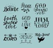 Σύνολο χεριού 9 που γράφει τα χριστιανικά αποσπάσματα Ιησούς ιερό πνεύμα Εμπιστευθείτε το Λόρδο ειρήνη Μόνο θεωρήστε πίστη ελπίδα διανυσματική απεικόνιση