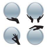 Σύνολο χεριού που κρατά την τρισδιάστατη κάρτα κύκλων Στοκ Φωτογραφία