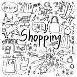 Σύνολο χεριού που σύρεται doodle εικονίδια αγορών και μόδας στοκ εικόνα