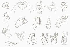 σύνολο χεριών χειρονομιώ&n Συλλογή των hand-drawn σημαδιών διάνυσμα διανυσματική απεικόνιση