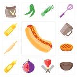 Σύνολο χοτ-ντογκ, κύπελλο, χασάπης, σύκο, μουστάρδα, πίτα, κυλώντας καρφίτσα, Μ διανυσματική απεικόνιση