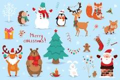Σύνολο Χριστουγέννων και νέων στοιχείων έτους με τα ζώα και Santa επίσης corel σύρετε το διάνυσμα απεικόνισης στοκ εικόνα