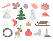 Σύνολο Χριστουγέννων και νέων στοιχείων έτους, συρμένο χέρι ύφος - ζώα και άλλα στοιχεία επίσης corel σύρετε το διάνυσμα απεικόνι διανυσματική απεικόνιση