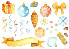 Σύνολο Χριστουγέννων παιχνιδιών Χριστουγέννων, δώρα, poppers κομμάτων, serpentines, σφαίρες, κορδέλλες απεικόνιση αποθεμάτων