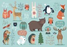 Σύνολο Χριστουγέννων, συρμένο χέρι ύφος - καλλιγραφία, ζώα και άλλο διανυσματική απεικόνιση