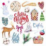 Σύνολο Χριστουγέννων Watercolor απεικόνισης clipart διανυσματική απεικόνιση