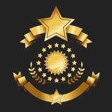 Σύνολο χρυσής καφετιάς ετικετών κορδελλών ποιοτικών βραβείων καθορισμένης διανυσματικής απεικόνισης κορδελλών συλλογής αναδρομική απεικόνιση αποθεμάτων