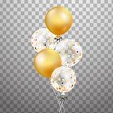 Σύνολο χρυσού, άσπρου διαφανούς μπαλονιού ηλίου στον αέρα Παγωμένα μπαλόνια κομμάτων για το σχέδιο γεγονότος Διακοσμήσεις κόμματο ελεύθερη απεικόνιση δικαιώματος