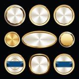 Σύνολο χρυσών και άσπρων σφραγίδας και διακριτικών πολυτέλειας ασφαλίστρου απεικόνιση αποθεμάτων