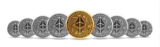 Σύνολο χρυσών και ασημένιων bitcoins απεικόνιση αποθεμάτων