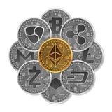 Σύνολο χρυσών και ασημένιων crypto νομισμάτων απεικόνιση αποθεμάτων