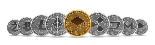 Σύνολο χρυσών και ασημένιων crypto νομισμάτων διανυσματική απεικόνιση