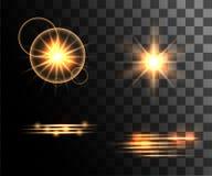 Σύνολο χρυσών καμμένος ελαφριών δαχτυλιδιών ελαφριών αποτελεσμάτων με τη διακόσμηση μορίων που απομονώνονται στο διαφανή ιστοχώρο Στοκ φωτογραφία με δικαίωμα ελεύθερης χρήσης