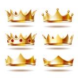 Σύνολο χρυσών κορωνών για το βασιλιά Στοκ φωτογραφία με δικαίωμα ελεύθερης χρήσης