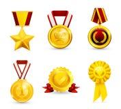 σύνολο χρυσών μεταλλίων Στοκ εικόνες με δικαίωμα ελεύθερης χρήσης