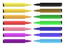 Σύνολο χρωματίζοντας δεικτών με τα δονούμενα χρώματα απεικόνιση αποθεμάτων