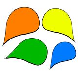 Σύνολο χρωματισμένης ομιλίας αυτοκόλλητων ετικεττών ελεύθερη απεικόνιση δικαιώματος