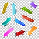 Σύνολο χρωματισμένων αυτοκόλλητες ετικέττες βελών διανυσματική απεικόνιση