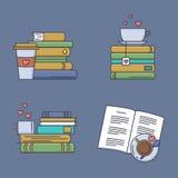 Σύνολο χρωματισμένων εικονιδίων για τους ανεμιστήρες βιβλίων Στοκ Εικόνες