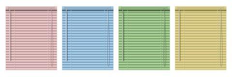 Σύνολο χρωματισμένων οριζόντιων τυφλών παραθύρων Ρεαλιστικές τυφλές κουρτίνες απεικόνισης στοκ φωτογραφία
