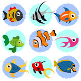 σύνολο ψαριών κινούμενων &sigma Στοκ Εικόνες