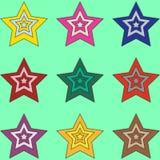 Σύνολο 9 όμορφων ζωηρόχρωμων αστεριών κινούμενων σχεδίων στο ελαφρύ κυανό υπόβαθρο διανυσματική απεικόνιση